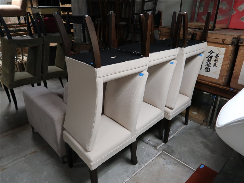 (6) CREAM FABRIC DINING ROOM CHAIRS | ANDREA BRAUND HOME ...